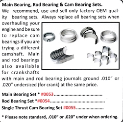 0055 / Single Thrust Cam Bearing Set