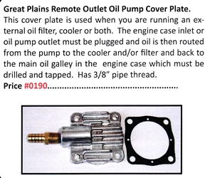 0190 / Remote Outlet Oil Pump Cover Plate