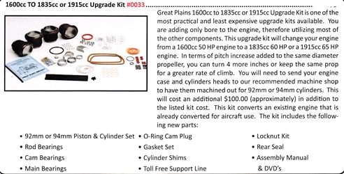 0033 / 1600cc to 1835cc or 1915cc Upgrade Kit