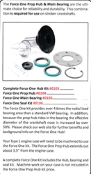 0105A / New Force One main Bearing & Seal