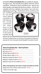 0137 / Piston & Cylinder Kits - Steel Cylinders
