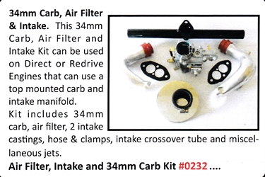 0232 / Air Filter, Intake and 34mm Carb Kit